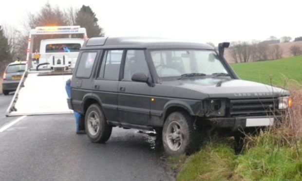 The crashed 4x4.