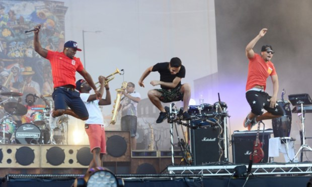 Rudimental performing at the Isle of Wight Festival.
