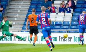 23/07/16 BETFRED LEAGUE CUP - GROUP C    INVERNESS CALEY THISTLE  V DUNDEE UNITED    TULLOCH CALEDONIAN STADIUM - INVERNESS    Inverness's Scott Boden blasts wide when through on goal