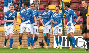 St Johnstone's Steven Maclean (centre) celebrates his goal with his team-mates.