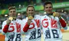Philip Hindes, Jason Kenny and Callum Skinner with their gold medals.