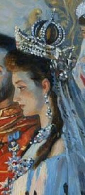 Detail of Alix of Hesse wearing the nuptial crown from Laurits Tuxen's Wedding of Nicholas II and Alix of Hesse (1885) [image in the public domain]