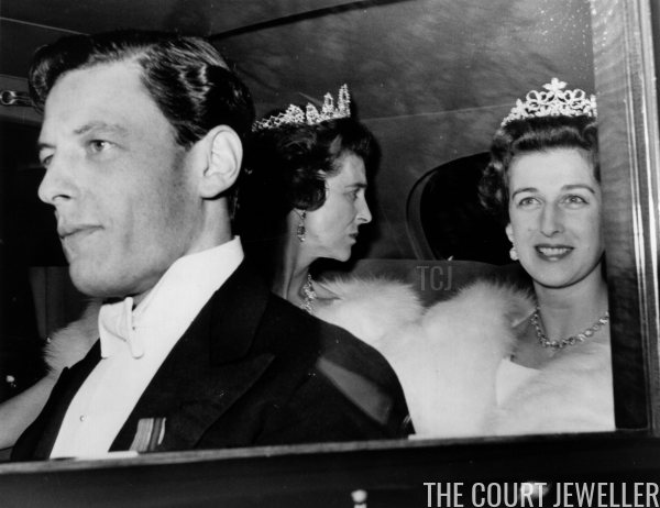 Alexandra wears the tiara as she, Angus, and Princess Marina depart for a ball on the night before their wedding, April 1963
