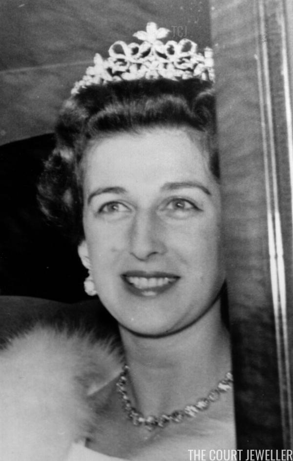 Princess Alexandra wears the pearl setting of the Ogilvy Tiara, April 1963