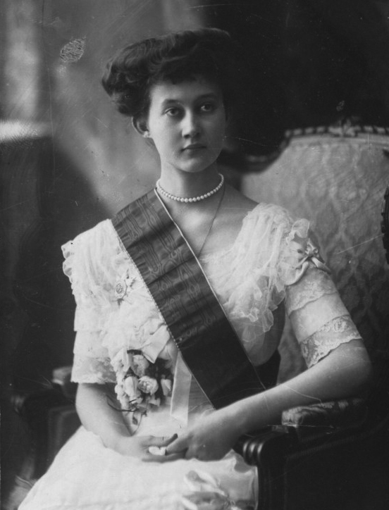 Simple pearls and flowers adorn Marie-Adelaide in this portrait, also taken during her reign