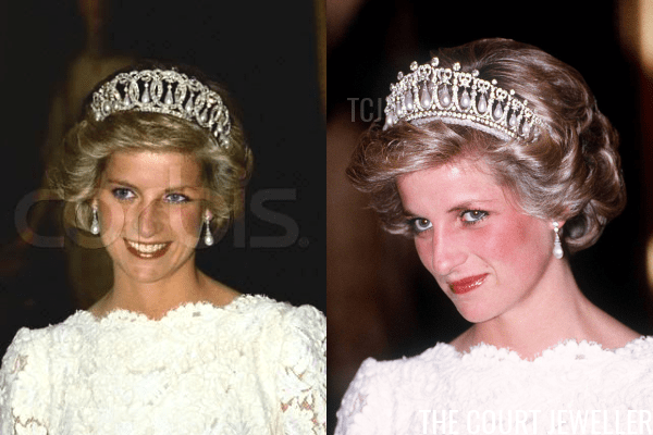 """Left: a photoshopped image of Diana """"wearing"""" the Vladimir Tiara; right: a real, unaltered image from the event (a dinner at the British embassy in Washington in November 1985) showing Diana wearing the Lover's Knot Tiara (Trinity Mirror/Mirrorpix/Alamy)"""