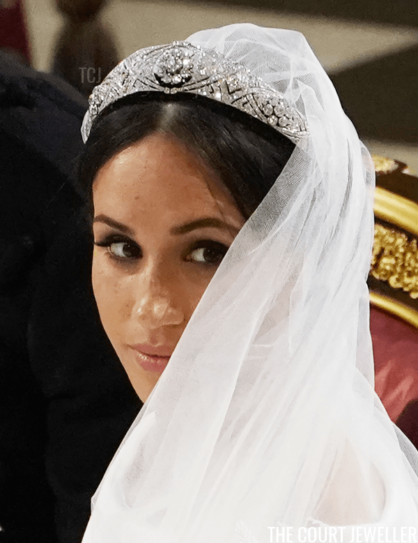 The Duchess of Sussex wears Queen Mary's Diamond Bandeau on her wedding day, May 2018 (Owen Humphreys - WPA Pool/Getty Images)