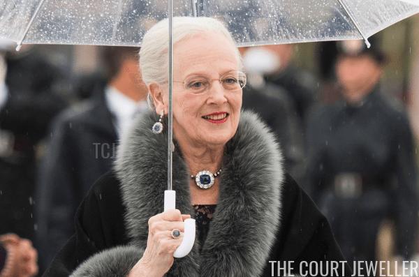 Queen Margrethe II of Denmark wears sapphire and diamond jewels