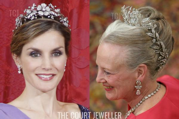 Queen Letizia wears the Spanish Floral Tiara, Queen Margrethe II wears the Danish Floral Aigrette