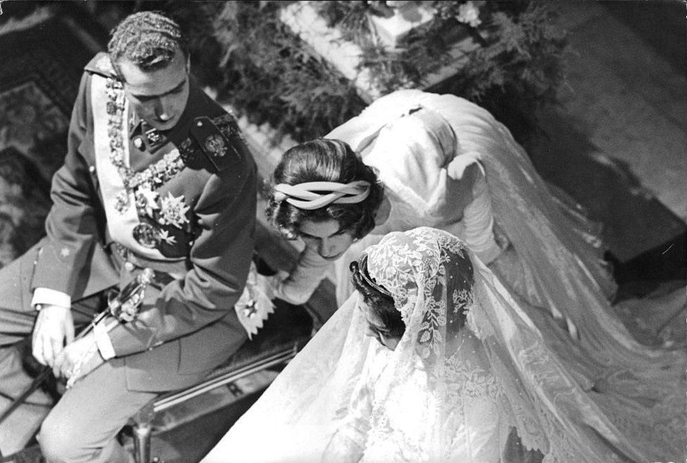 King Juan Carlos and Queen Sofia on their wedding day, 1962