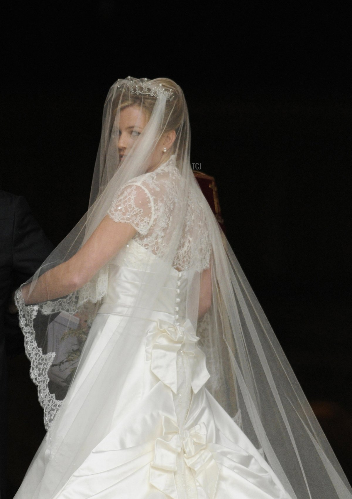 Autumn Kelly 31 looks over her shoulder as she enter St George's Chapel in Windsor on May 17, 2008 to be wed to Peter Phillips 30
