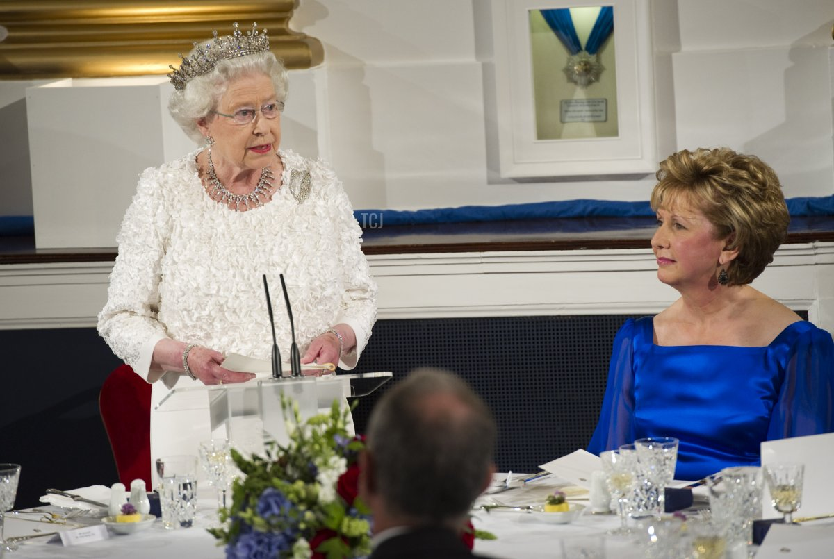 Queen Elizabeth II makes a speech as she attends the State Dinner on the second day of her State Visit, at Dublin Castle, on May 18, 2011 in Dublin, Ireland