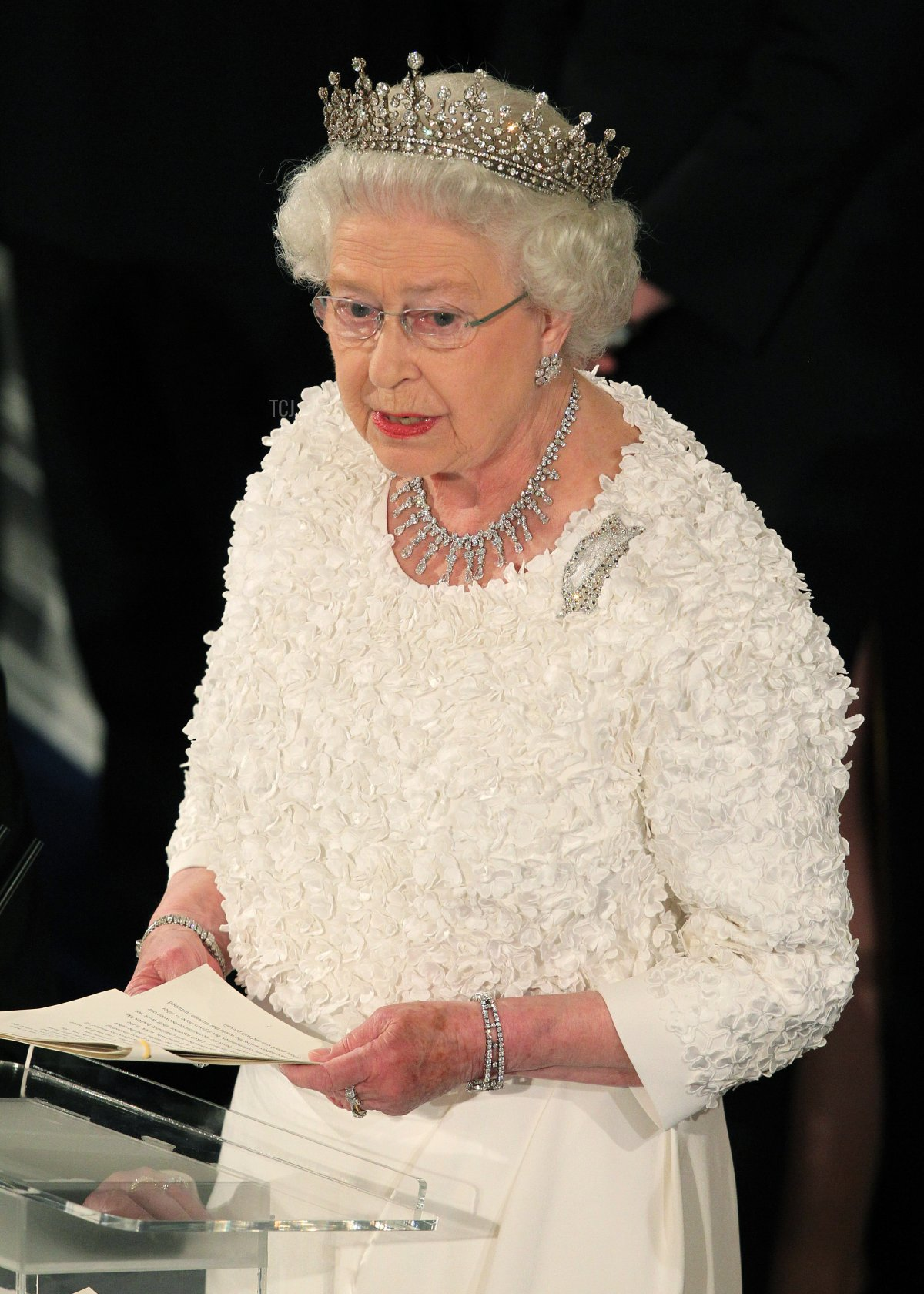 Britain's Queen Elizabeth II speaks to guest at a state dinner in Saint Patrick's Hall at Dublin Castle in Dublin on May 18, 2011