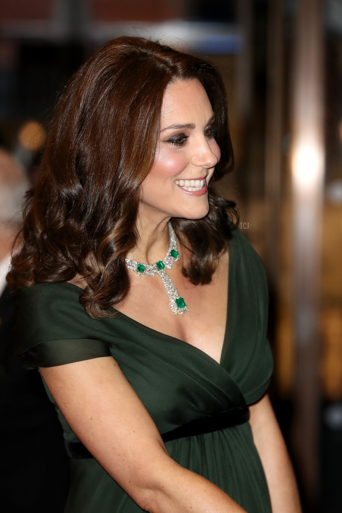 The Duchess of Cambridge smiles as she attends the BAFTA British Academy Film Awards at the Royal Albert Hall in London on February 18, 2018