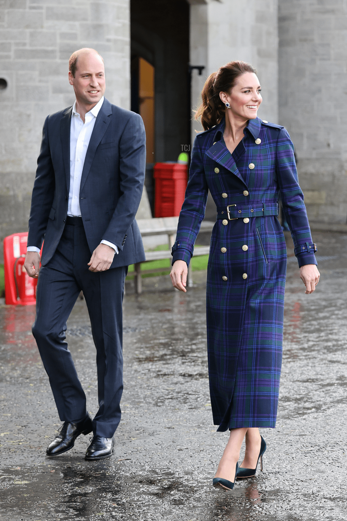 Prince William, Duke of Cambridge and Catherine, Duchess of Cambridge arrive to host NHS Charities Together and NHS staff at a unique drive-in cinema to watch a special screening of Disney's Cruella at the Palace of Holyroodhouse on day six of their week-long visit to Scotland on May 26, 2021