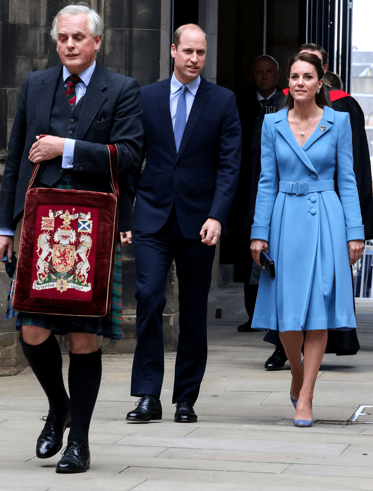 Britain's Prince William, Duke of Cambridge and Britain's Catherine, Duchess of Cambridge, arrive to attend the closing ceremony of the General Assembly of the Church of Scotland in Edinburgh on May 27, 2021, during their week long visit to Scotland