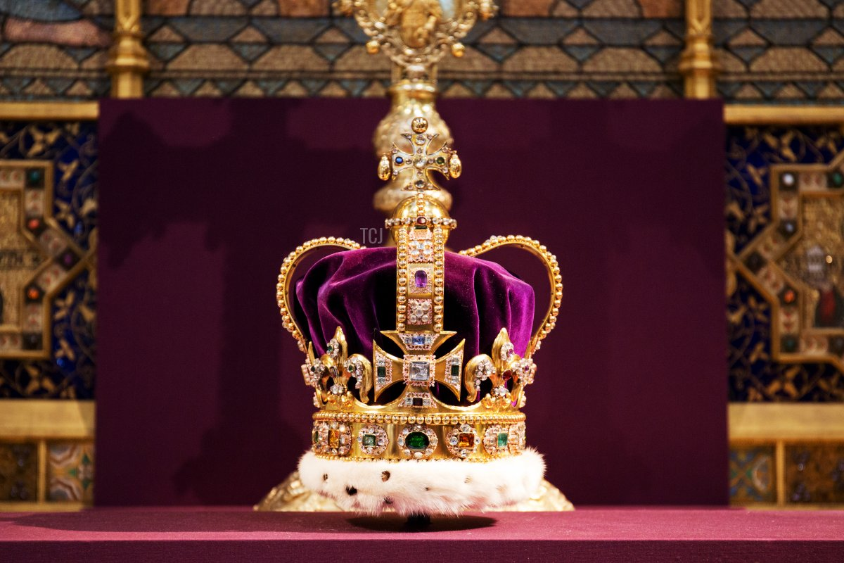 St Edward's Crown is pictured during a service to celebrate the 60th anniversary of the Coronation of Queen Elizabeth II at Westminster Abbey, on June 4, 2013 in London, England
