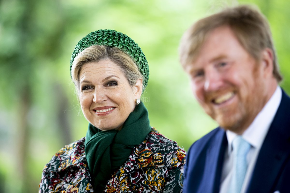 King Willem-Alexander of The Netherlands and Queen Maxima of The Netherlands visit the Passiespelen in open air theater De Doolhof during their region visit to North-Limburg on May 27, 2021 in Venlo, Netherlands