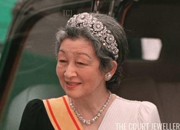Empress Michiko wears the Imperial Chrysanthemum Tiara