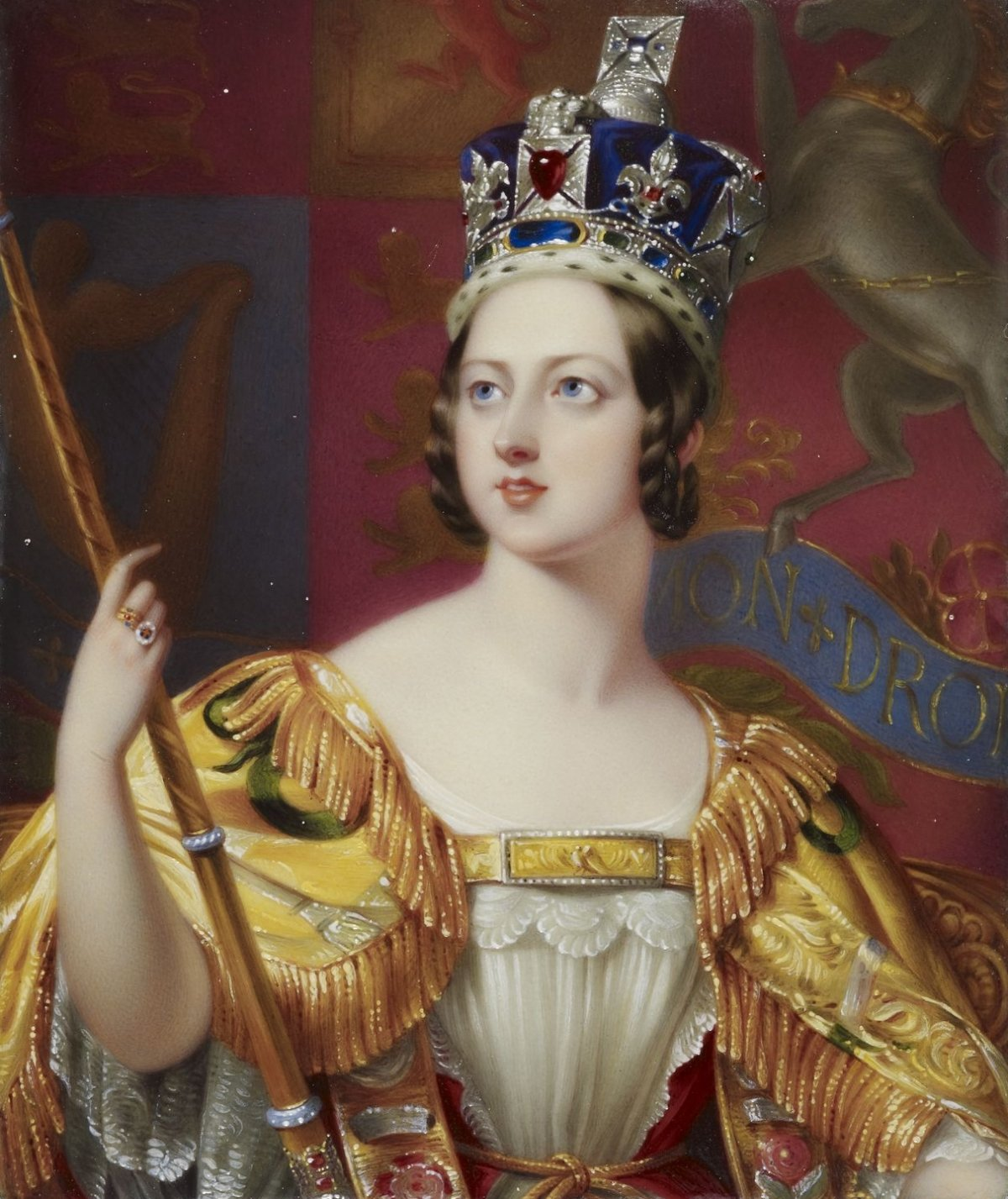 Portrait miniature of Hayter's 1838 state portrait of Queen Victoria. Part of the 'Bone Set of Enamels of the English Sovereigns and Queens from Edwd. III to Queen Victoria'