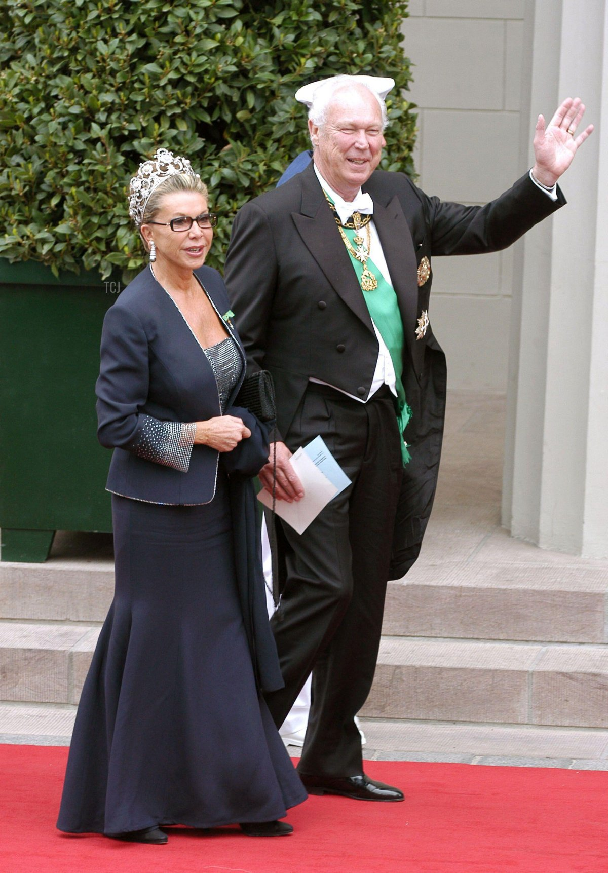 Victor Emmanuel of Savoy and wife Marina Doria arrive at the cathedral of Copenhagen for the wedding of Crown Prince Frederik of Denmark and Mary Elisabeth Donaldson on May 14, 2004