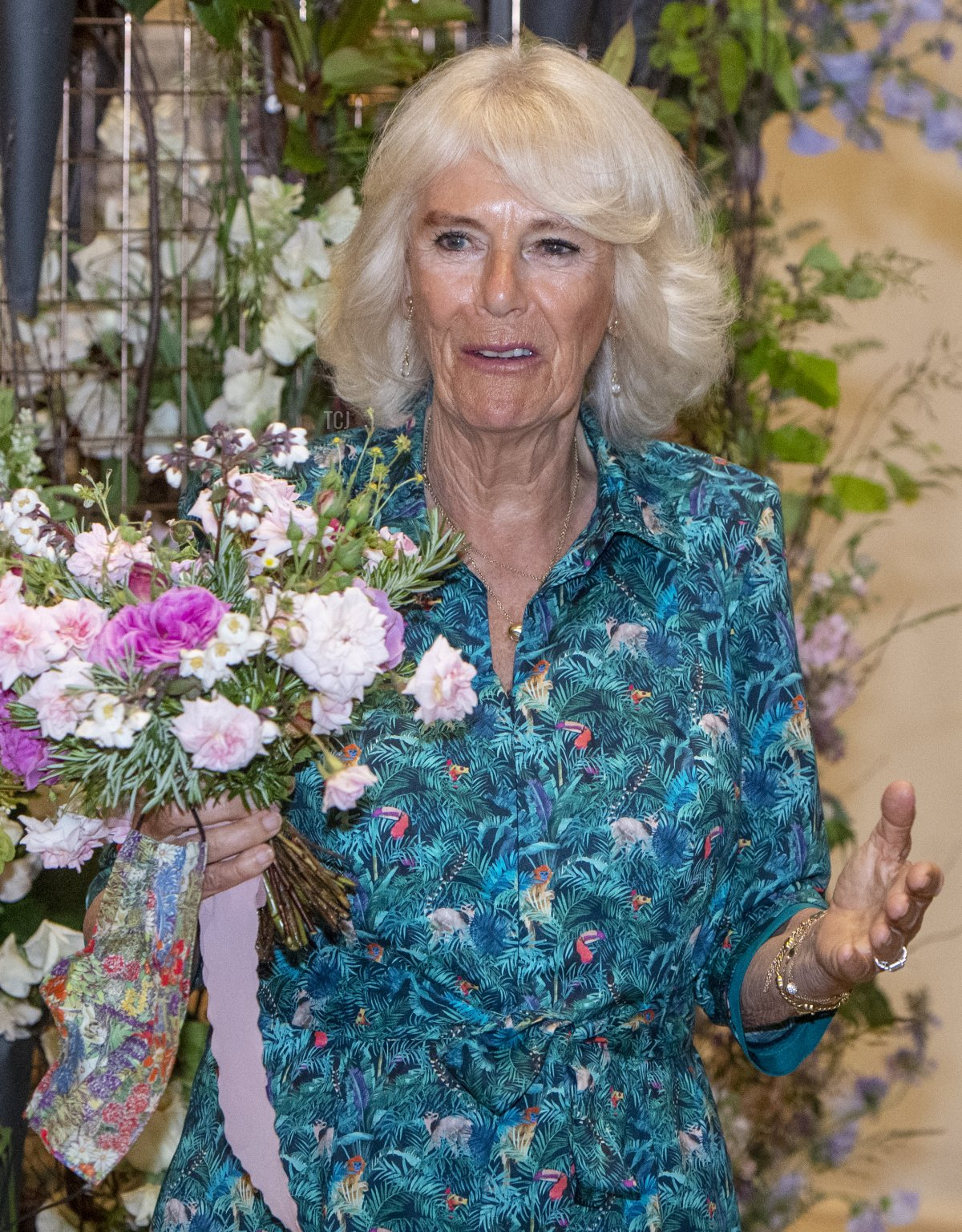 Camilla, The Duchess of Cornwall, with a bouquet with rosemary in as a sign of remembrance, acknowledging that today would have been the birthday of The Duke of Edinburgh, visits the Garden Museum to open the annual British Flowers Week festival in collaboration with New Covent Garden Flower Market on June 10, 2021 in London, England