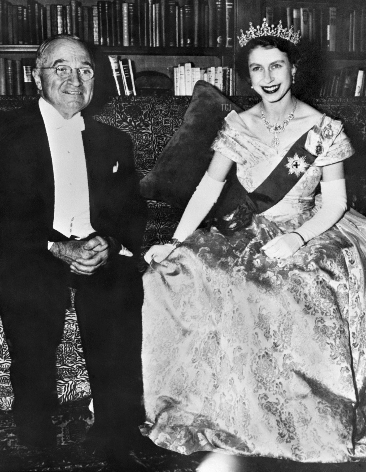 The Princess Elizabeth of England, the future Queen Elizabeth II, poses with American President Harry Truman in October 1951 at the White House in Washington