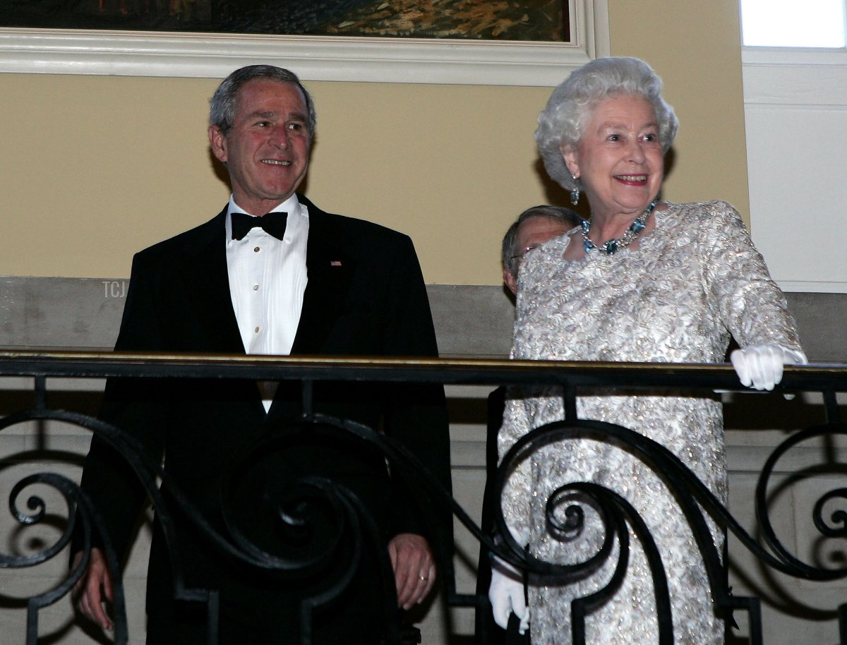 Queen Elizabeth II, and U.S. President George W. Bush arrive at the British Embassy for a dinner hosted by the Queen on May 8, 2007 in Washington, DC. This is the final day of a six day state tour of the United States to commemorate the 400 year anniversary of the Settlement of Jamestown. This will be the fourth time that Her Majesty and His Royal Highness have visited the US