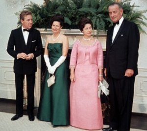Princess Margaret and Lord Snowdon with Lyndon B. Johnson and Lady Bird Johnson at the White House in 1965