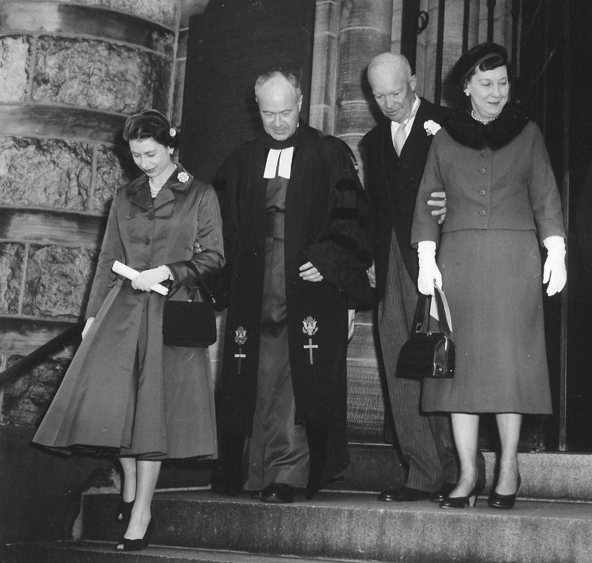 US President and First Lady accompany British royal family on a visit to National Presbyterian Church, 1957 - L to R: Queen Elizabeth II, Dr. Elson, President Eisenhower, Mamie Eisenhower, Associate Minister John Edwards and Prince Philip