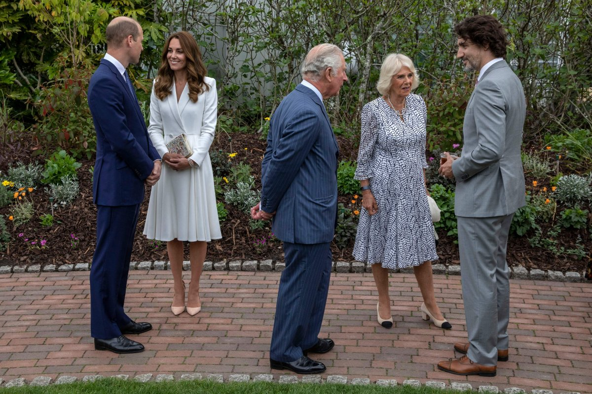 Britain's Prince William, Duke of Cambridge, Britain's Catherine, Duchess of Cambridge, Britain's Prince Charles, Prince of Wales, Britain's Camilla, Duchess of Cornwall and Canada's Prime Minister Justin Trudeau attend a reception with G7 leaders at The Eden Project in south west England on June 11, 2021