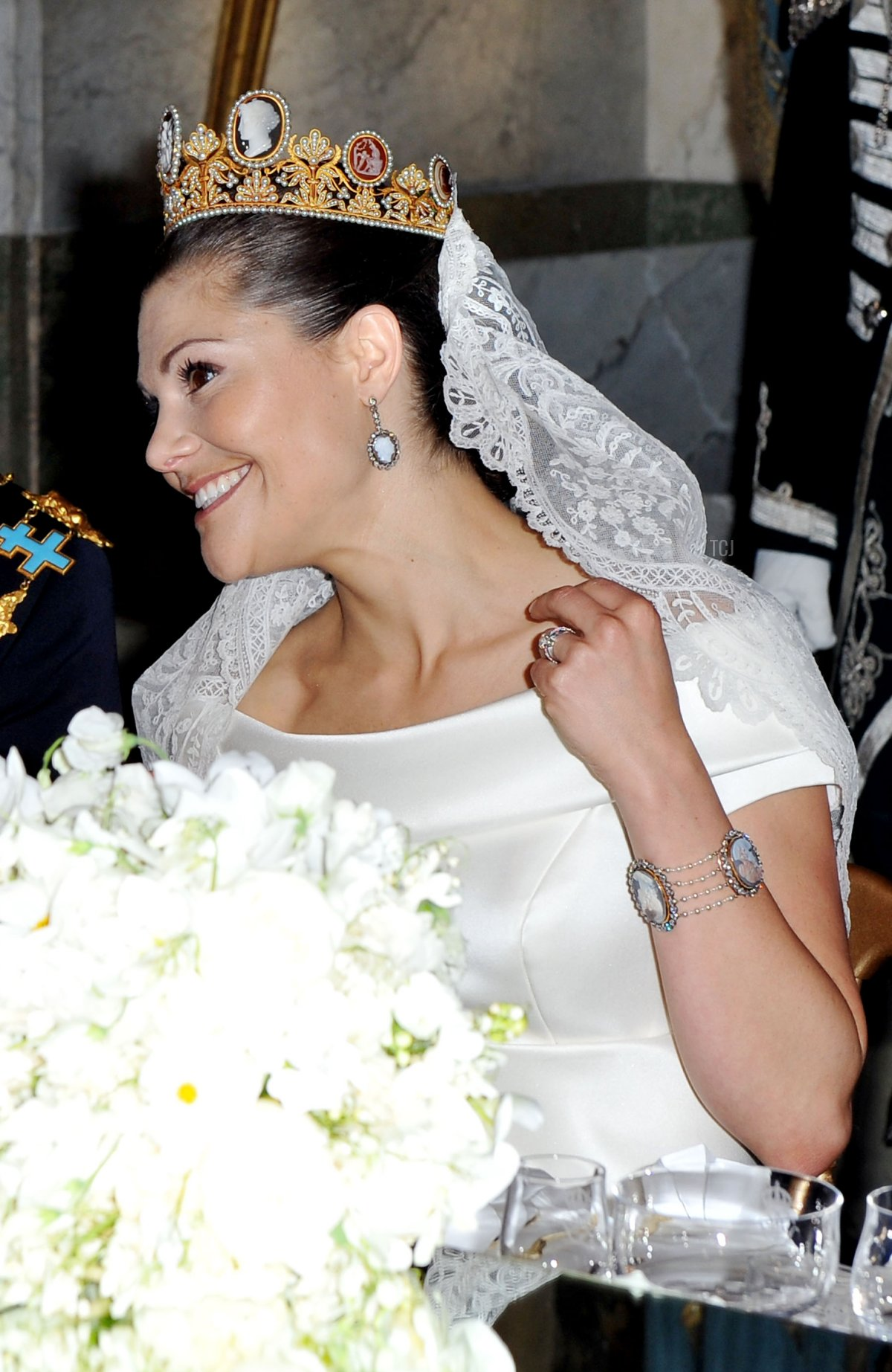 Crown Princess Victoria of Sweden, her father King Carl Gustaf of Sweden and Ewa Westling attend their wedding banquet at the Royal Palace on June 19, 2010 in Stockholm, Sweden