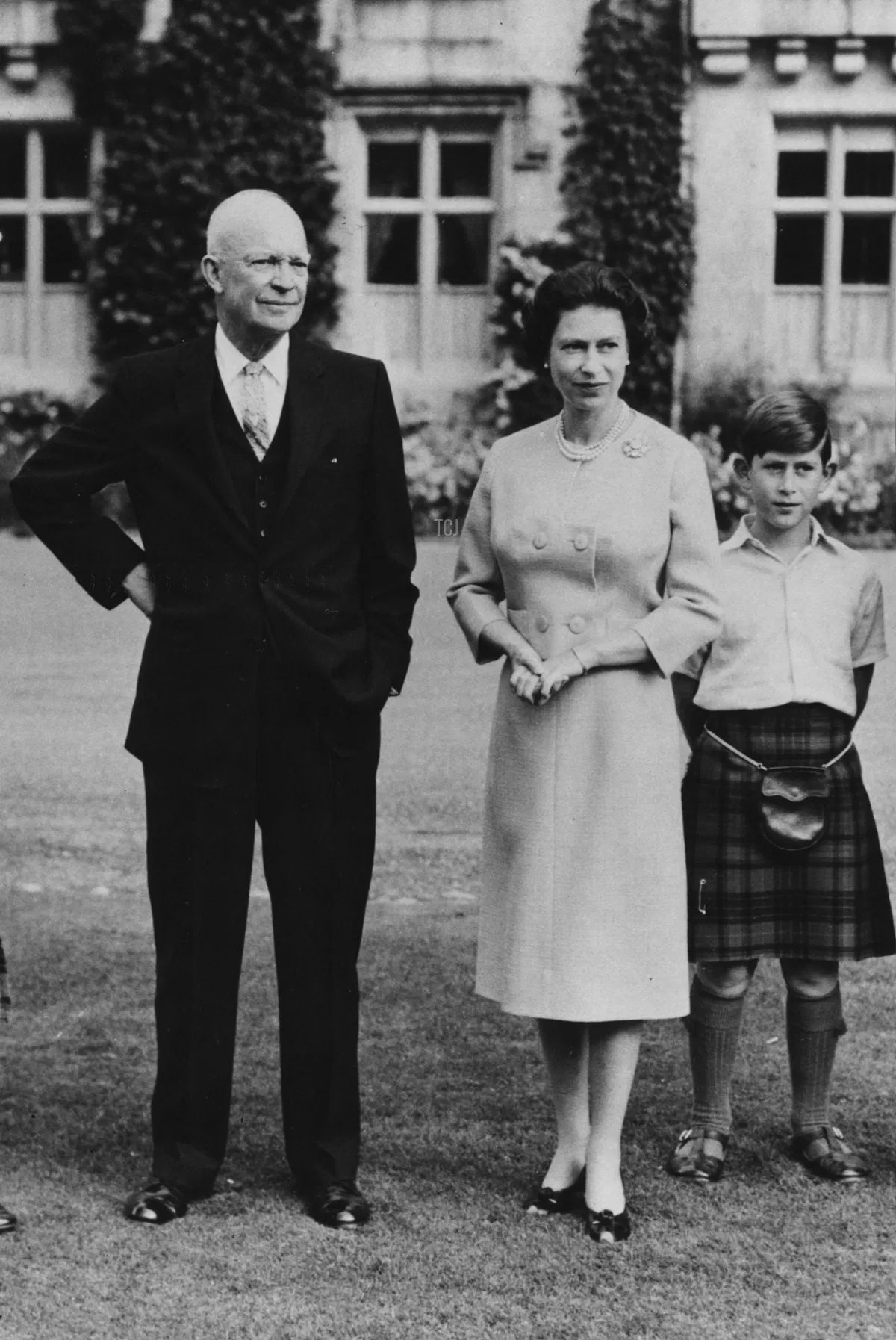 President Eisenhower (centre) with the British Royal family (L-R) Prince Philip, Princess Anne, HM Queen Elizabeth, Prince Charles and Captain John Eisenhower, at Balmoral Castle, Scotland, September 1959