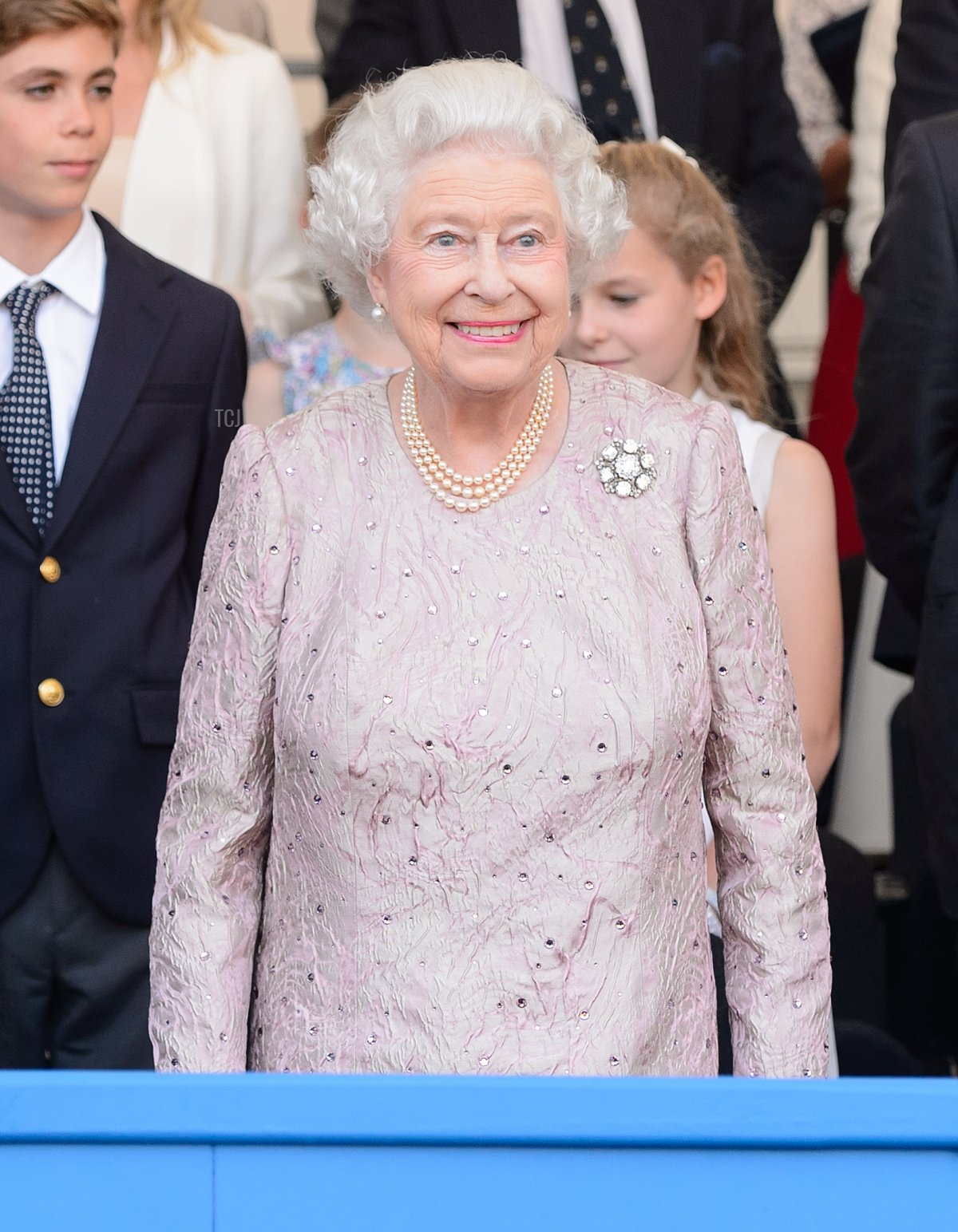 Queen Elizabeth II in the royal box during the Coronation Festival Evening Gala at Buckingham Palace on July 11, 2013 in London, England