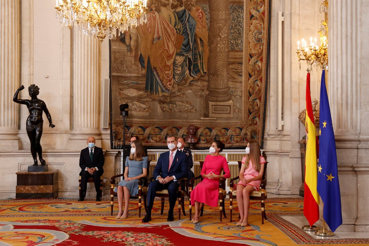 """Princess Leonor, King Felipe of Spain, Queen Letizia of Spain and Princess Sofia attend the """"Order of the Civil Merit"""" ceremony at the Royal Palace on June 18, 2021 in Madrid, Spain"""