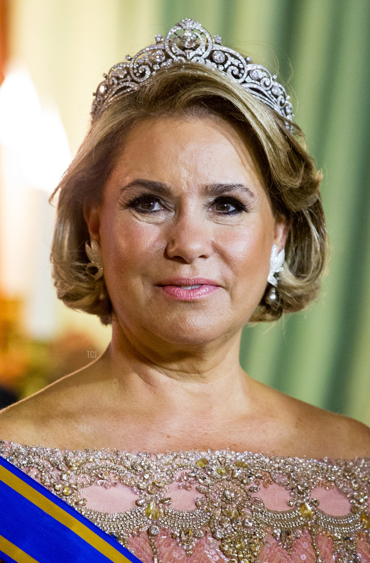 Grand Duchess Maria Teresa during the official picture at the state banquet in the Grand Ducal Palace on May 23, 2018 in Luxembourg, Luxembourg. The Dutch King and Queen are in Luxembourg for a three day state visit