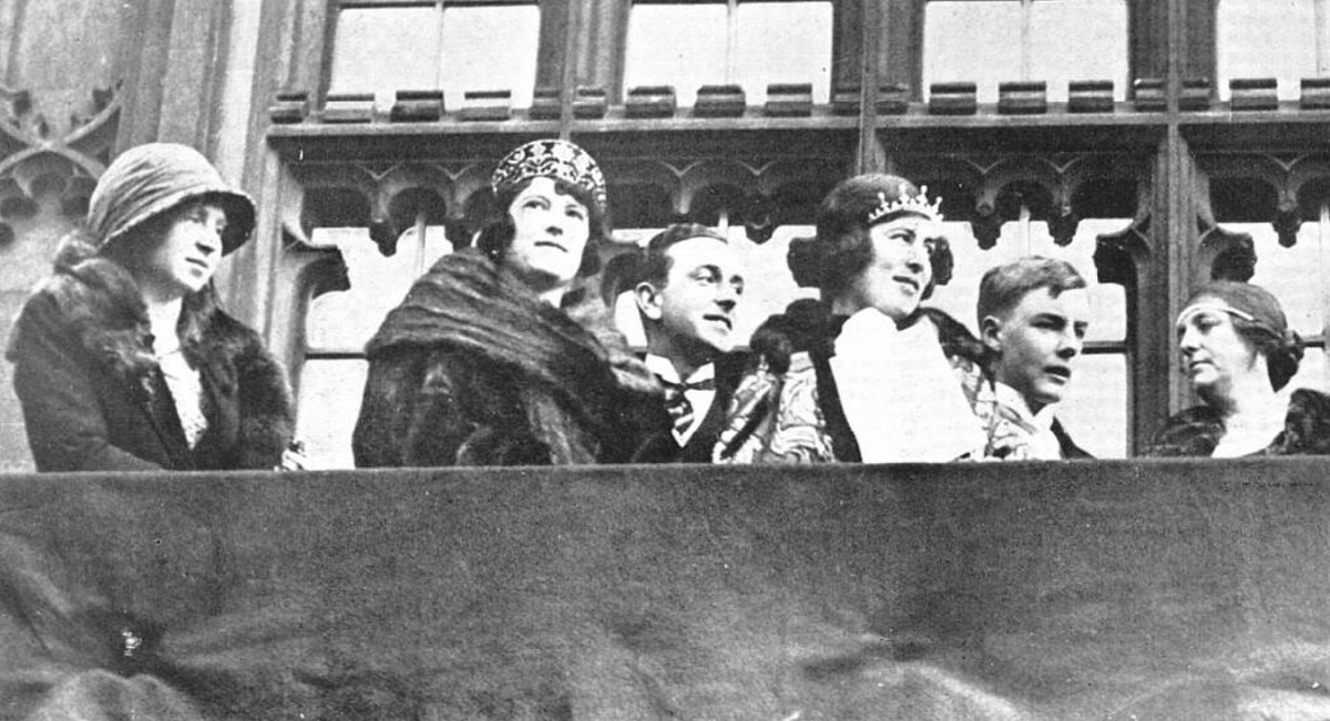 The Marquess and Marchioness of Milford Haven with family and friends at the State Opening of Parliament, January 1924