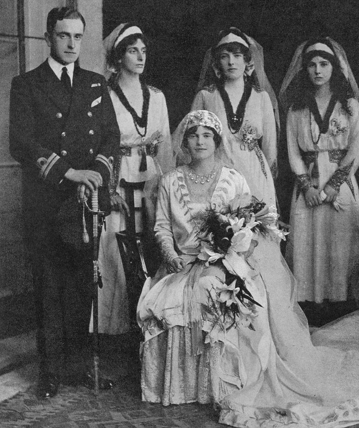 Prince George of Battenberg and Countess Nadejda de Torby on their wedding day, 1916