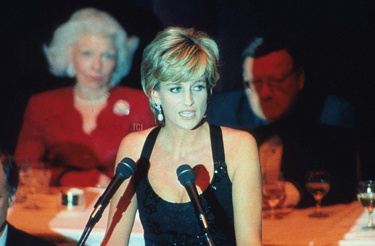 Lady Diana Spencer speaks at the 41st annual United Cerebral Palsy Awards gala December 11, 1995 in New York City. Lady Diana, the Princess of Wales, received the UCP Humanitarian Award at the fundraising evening