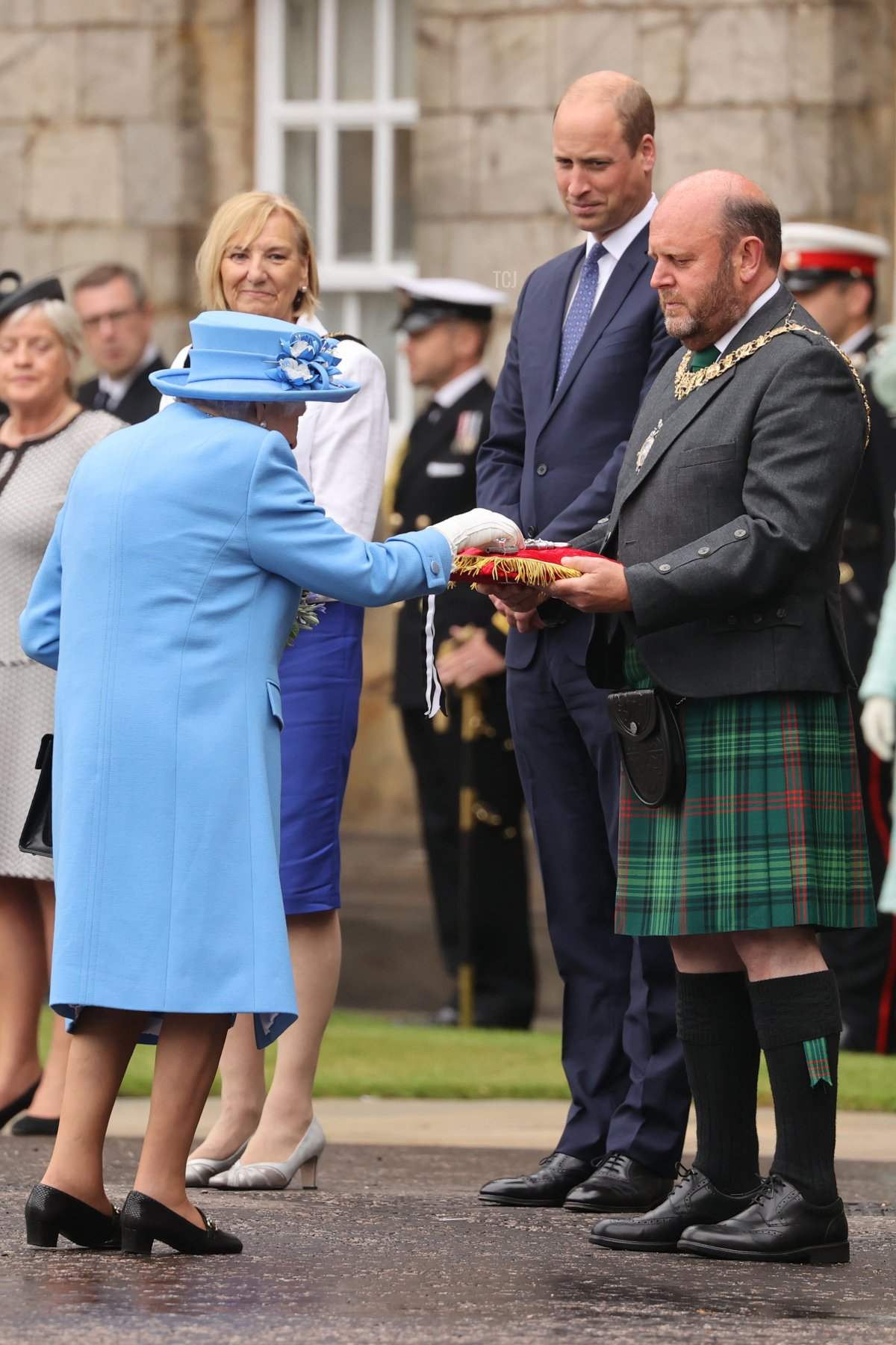Queen Elizabeth II attends The Palace Of Holyrood house on June 28, 2021 in Edinburgh, Scotland