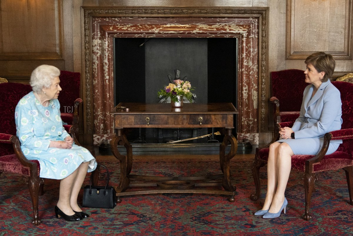 Queen Elizabeth II receives First Minister of Scotland Nicola Sturgeon during an audience at the Palace of Holyroodhouse on June 29, 2021 in Edinburgh, Scotland