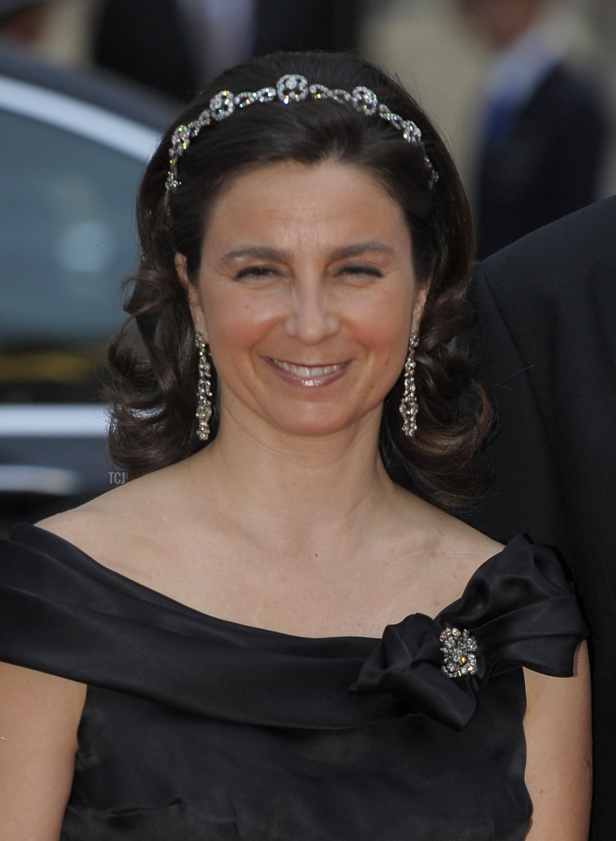 Portugal's Duke of Braganza Duarte Pio and Isabel de Heredia arrive for a dinner after the religious wedding ceremony of Princess Charlene of Monaco and Prince Albert II of Monaco on July 2, 2011 in Monaco