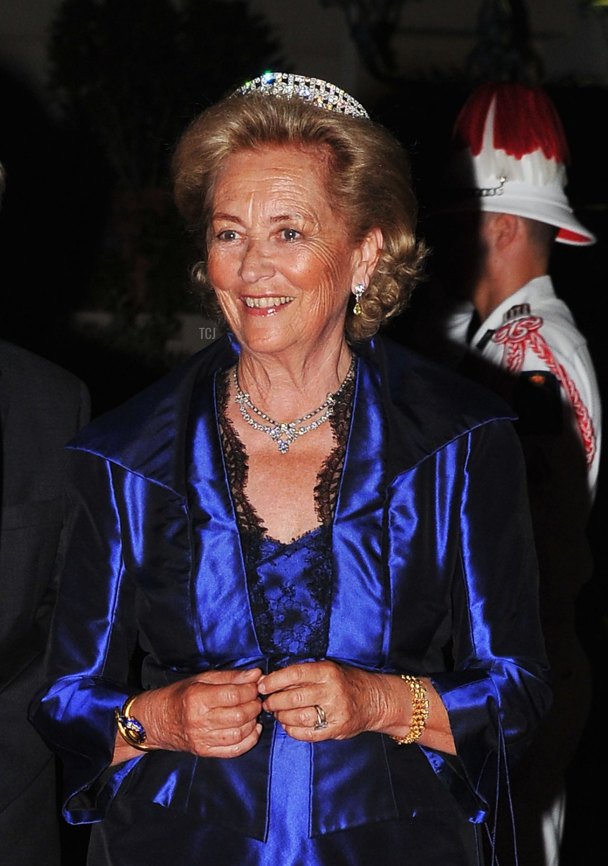 Queen Paola of Belgium attends a dinner at Opera terraces after the religious wedding ceremony of Prince Albert II of Monaco and Princess Charlene of Monaco on July 2, 2011 in Monaco