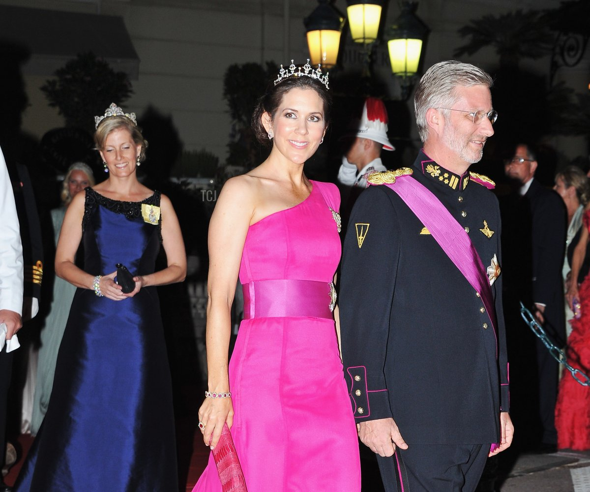 Princess Mary of Denmark and Prince Philippe of Belgium attend a dinner at Opera terraces after the religious wedding ceremony on July 2, 2011 in Monaco