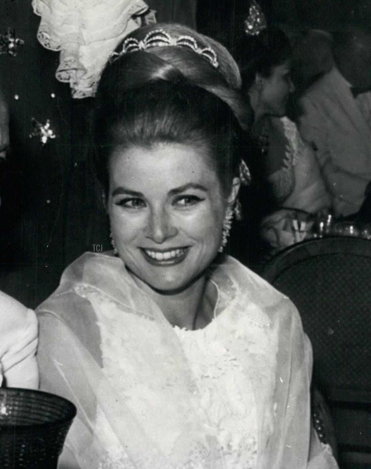 Grace wears her diamond tiara for the Bal de Petit Lits Blancs in Monaco, July 1966