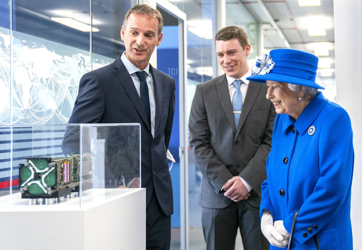 Queen Elizabeth II is shown some of the satellite nano-technology as she visits Skypark in Glasgow to receive a briefing from the UK Space Agency and view satellite production, as part of her traditional trip to Scotland for Holyrood Week on June 30, 2021 in Glasgow, Scotland