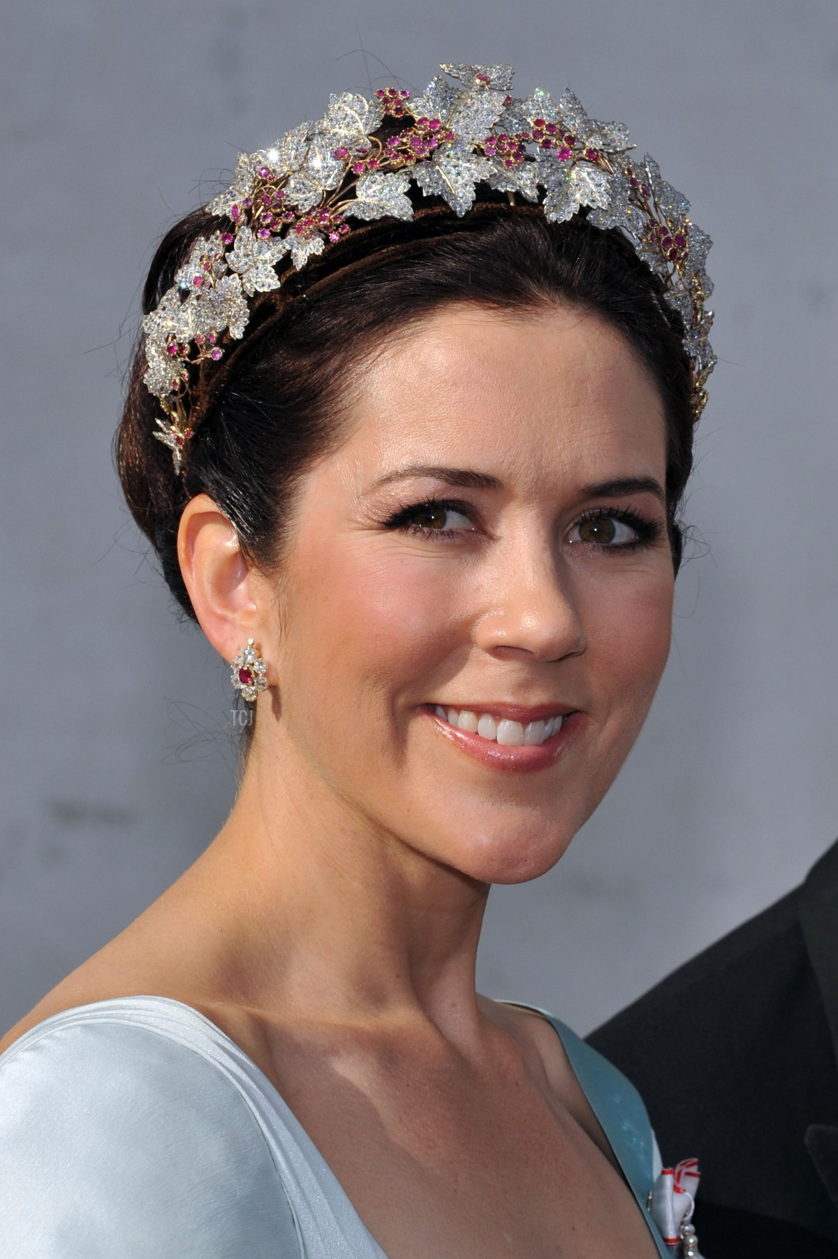 Crown Princess Mary of Denmark depart after they attended the wedding between Prince Joachim of Denmark and Princess Marie of Denmark, Countess of Monpezat, at the Mogeltonder church on May 24, 2008 in Mogeltonder, Denmark
