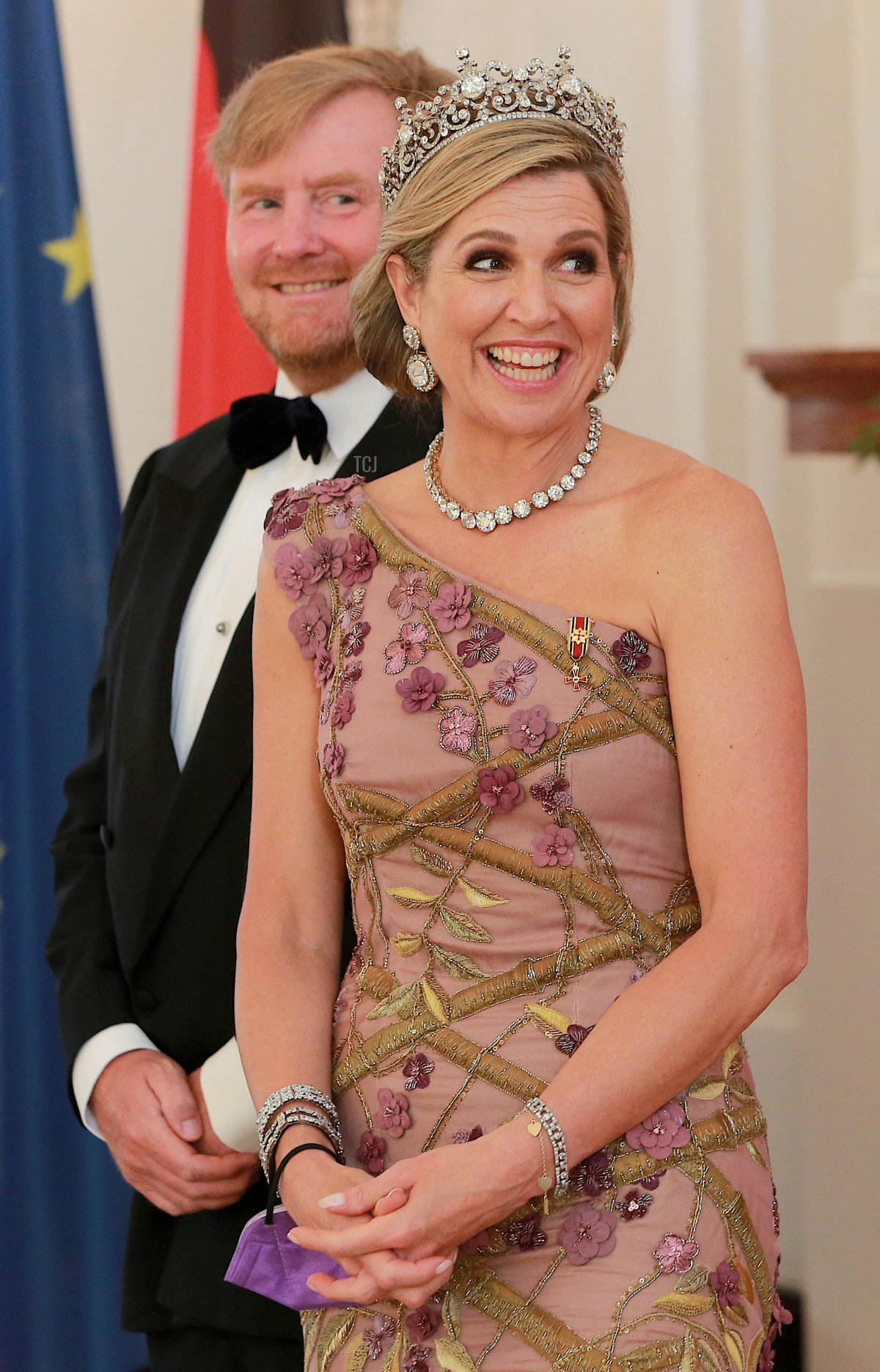 King Willem-Alexander of The Netherlands and Queen Maxima of The Netherlands attend a banquet at Bellevue Palace on July 5, 2021 in Berlin, Germany
