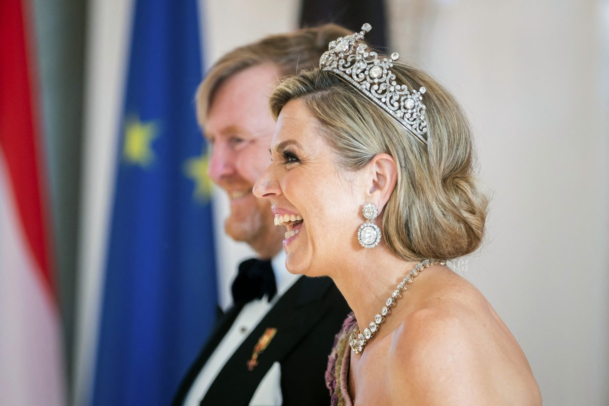 King Willem-Alexander and Queen Maxima of the Netherlands attend a state dinner in their honour at the Bellevue presidential palace in Berlin on July 5, 2021