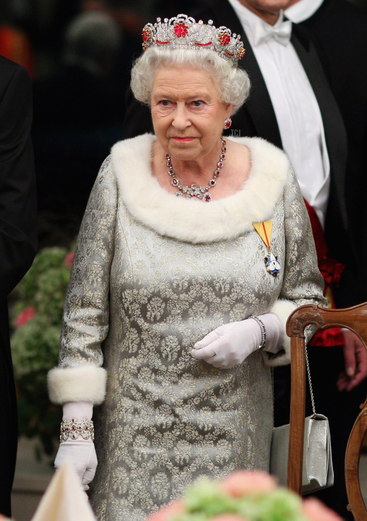 Queen Elizabeth II attends a state banquet at Brdo Castle on the first day of a two day tour of Slovenia on October 21, 2008 in Ljubljana, Slovenia